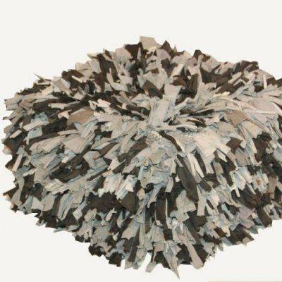 Puff algodon cuadrado tiras color gris negro