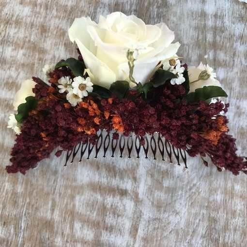 Peineta flores preservadas boda otoño