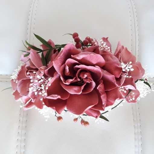Tocado de flores preservadas con Gardenias